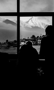 Nepal, Tenzing Hillary Airport, Lukla. People Waiting for their flight